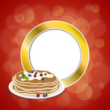 Abstract background food pancakes butter berries blueberry raspberries red yellow mint green gold circle frame illustration Royalty Free Stock Photo