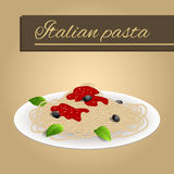 Abstract background food pasta spaghetti white Italy green red yellow beige illustration. Vector royalty free illustration