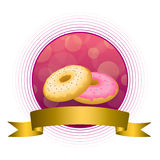 Abstract background food pink yellow baked donut glazed ring gold circle frame ribbon illustration Stock Image