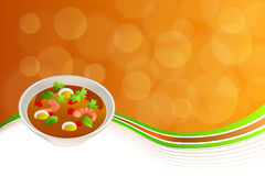 Abstract background food sea Thai soup red green yellow shrimp egg frame illustration Royalty Free Stock Photo