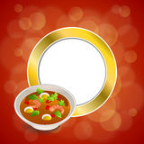 Abstract background food sea thai soup red green yellow shrimp egg gold circle frame illustration Royalty Free Stock Photos