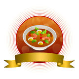 Abstract background food sea thai soup red green yellow shrimp egg gold circle frame ribbon illustration Stock Photos