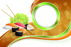 Abstract background food sushi green yellow orange ribbon frame illustration. Vector Royalty Free Stock Image