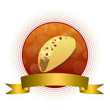 Abstract background food taco red yellow gold circle frame ribbon illustration Stock Photos