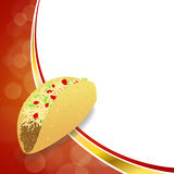 Abstract background food taco red yellow gold wave frame illustration. Vector Royalty Free Stock Photo