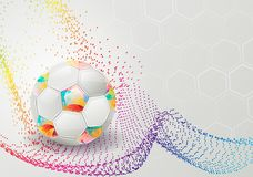 Abstract background with football and a colorful wave. Vector illustration Stock Images