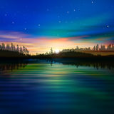 Abstract background with forest lake and sunrise Royalty Free Stock Photo