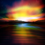 Abstract background with forest lake and sunrise Royalty Free Stock Photos