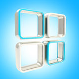 Abstract background of four boxe shelves. Abstract background of four glossy square blue box shelves Royalty Free Stock Images