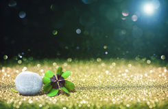 Abstract background with four leaf lucky clover and stone Stock Images