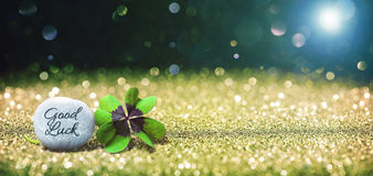 Abstract background with four leaf lucky clover and stone Royalty Free Stock Photo
