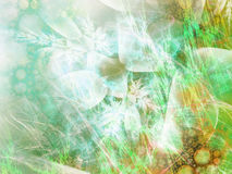 Abstract background with fractal bubbles and plants. Stock Images