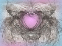 Abstract background with fractal heart. Digital collage. Abstract background with fractal heart. Design element for greeting cards, advertisements, web and royalty free illustration
