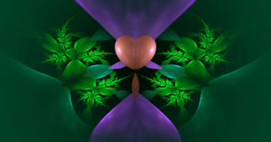 Abstract background with fractal heart and flowers. Royalty Free Stock Image