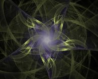Abstract background fractal. Twisted pentagonal star on a dark background Royalty Free Stock Photo