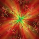 Fantasy of fractals in red and glow in the middle. An abstract background of fractals created on a computer program, red with twisted leaves, a bright glow in stock illustration