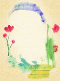 Abstract Background with Frame as an arch. Picture by a watercolor Royalty Free Stock Image