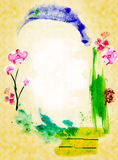 Abstract Background with Frame as an arch. Picture by a watercolor Stock Illustration