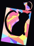 Abstract background, frame with a cat.  Stock Image