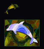 Abstract background, frame with a dolphin.  Stock Photos