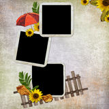 Abstract background with frame and flowers. In scrapbooking style Royalty Free Illustration