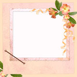 Abstract background with frame and flowers. In scrapbooking style Royalty Free Stock Photos