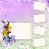 Abstract background with frame and flowers. In scrap-booking style Royalty Free Illustration