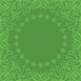 Abstract background, frame and pattern. Green background with round frame and abstract graphic contour pattern Vector Illustration