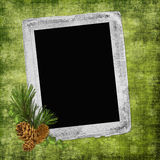 Abstract background with frame and pinecones. In scrapbooking style Vector Illustration