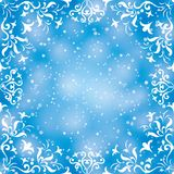 Abstract background frame. Abstract background with symbolical floral white pattern frame and confetti on blue. Eps10, contains transparencies stock illustration
