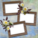 Abstract background with frames and flowers. In scrapbooking style Stock Illustration