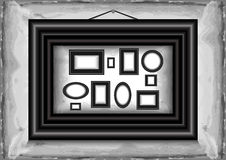 Abstract background with frames. Illustration of picture frames collection on grunge background Royalty Free Illustration