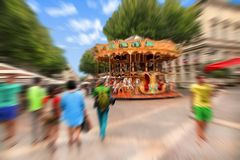 Abstract background. France, Avignon. Traditional fairground car Royalty Free Stock Photography