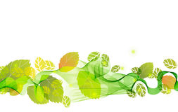 Abstract background with fresh green leaves. And wave, illustration for your design Stock Images
