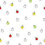 Abstract background fruit apple green red yellow seamless pattern. Vector Royalty Free Stock Images