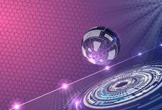 Abstract background with futuristic glass sphere. Abstract background with glass sphere, with purple colors and glow and futuristic elements, hexagons . Used a royalty free illustration