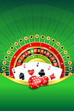 Abstract background with gambling elements. Abstract gambling background with roulette wheel, playing cards and dices royalty free illustration