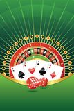 Abstract background with gambling elements. Abstract gambling background with roulette wheel, playing cards and dices. Adobe Illustrator EPS8 file vector illustration