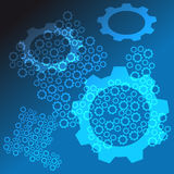 Abstract background with gear on black - blue background. Vectorillustration Royalty Free Illustration
