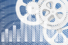 Abstract background gear wheels and chart. Symbolizing the business performance Stock Image