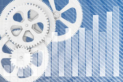 Abstract background gear wheels and chart. Symbolizing the business performance Royalty Free Stock Images