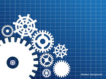 Abstract background. Gears on a blue abstract background Stock Photos