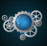 Abstract background with gears. Abstract metallic industrial background with gears. Vector illustration stock illustration
