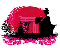 Geisha silhouette at sunset. Abstract background- Geisha silhouette at sunset Royalty Free Stock Photos