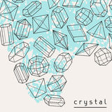 Abstract background with geometric crystals and. Minerals Royalty Free Stock Photos