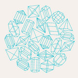 Abstract background with geometric crystals and. Minerals royalty free illustration