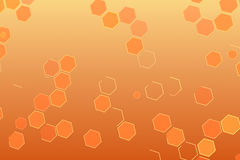 Abstract background with geometric hexagon series shape like hive, futuristic effect. On orange and yellow gradient background royalty free illustration