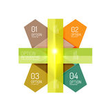 Abstract background, geometric infographic option templates. Vector colorful business presentation or data brochure layouts with sample text Stock Photos