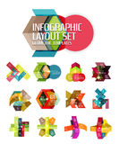 Abstract background, geometric infographic option templates. Vector colorful business presentation or data brochure layouts with sample text Stock Image