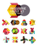 Abstract background, geometric infographic option templates. Vector colorful business presentation or data brochure layouts with sample text Royalty Free Stock Image